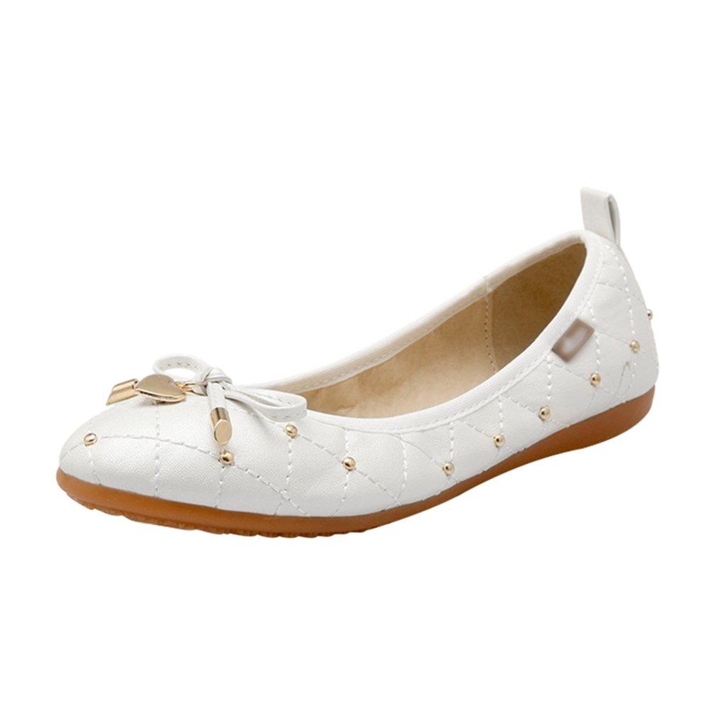 Jitong Slip-on Bowknot Mocassini per Donna Elegante Rivetto Loafers Confortevole Scarpe da Guida bianco
