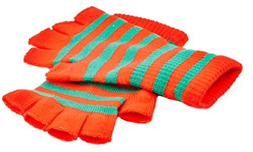 Funny Guy Mugs Warm Stretchy Knit Fingerless Gloves for Women and Men, Christmas Colors (Red/Green Striped), One Size Fits Most