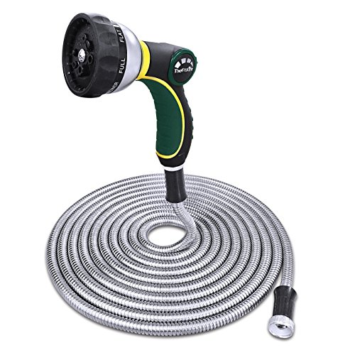 TheFitLife Stainless Steel Metal Garden Hose 304 Stainless Steel Water Hose with Solid Metal Fittings and Newest Spray Nozzle, Lightweight, Kink Free, Durable and Easy to Store 50 Feet