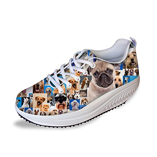 Animaux Chien Forme Fitness Marche Sneaker Casual Femmes Coins Plate-forme Chaussures Pug