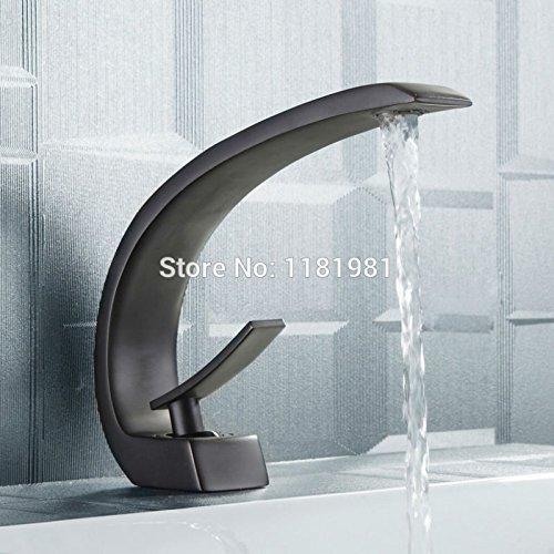 5151buyworld Top Qualität Wasserhahn schwarzplattierter Wasserfall Wasser Auslass Deck montiert Badezimmer Wasserhahn für Badezimmer Küche Home Gaden (begriffsklärung), schwarz, Messing