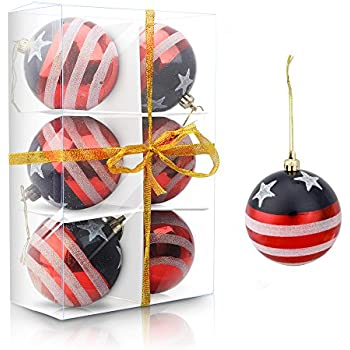 Esscoe Christmas Ball Ornaments Shatterproof Tree Decoration Balls Set Indoor Outdoor for Home Holiday Wedding Party Stars Stripes 80mm 6pcs