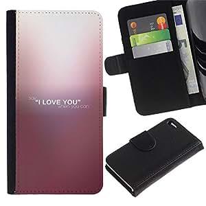 // PHONE CASE GIFT // Moda Estuche Funda de Cuero Billetera Tarjeta de crédito dinero bolsa Cubierta de proteccion Caso Apple Iphone 4 / 4S / I LOVE YOU /