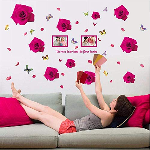 JQSM Wall Decoration Romantic Pink Rose Frame Wall Sticker Home Decor Living Room Bedroom PVC Flower Sticker Wall Valentine's Day Decoration