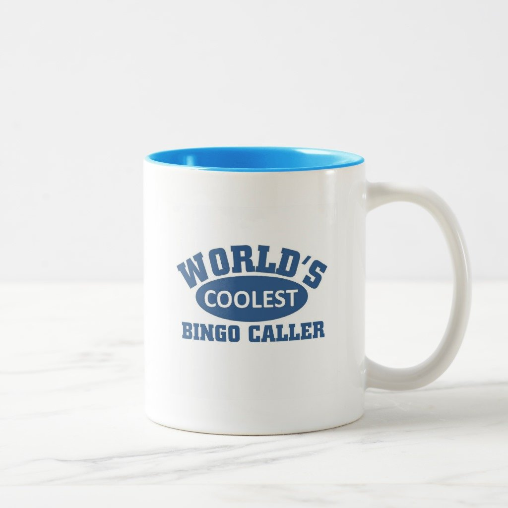 Zazzle Coolest Bingo Caller Coffee Mug, Light Blue Two-Tone Mug 11 oz
