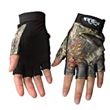 Isafish Fishing Hunting Gloves Fingerless Gloves Camouflage Color Breathable Anti-slip Waterproof Gloves Outdoor Sun Protection Gloves