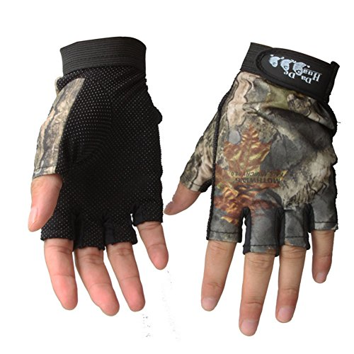 Isafish Fishing Hunting Gloves Fingerless Gloves Camouflage Color Breathable Anti-slip Waterproof Gloves Outdoor Sun Protection Gloves (Fingerless Hunting Gloves)