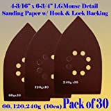 30 Assorted (60/120/240 Grits) Large Mouse Detail Sander Sandpaper Sanding Paper Hook & Loop Assorted 60 80 120 180 240 320 Grits for Black and Decker Mega Mouse Cyclon Sandstorm Craftsman