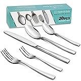 Heim & Elda 20 Piece Stainless Steel Utensils Flatware Tableware Dinnerware Cutlery Set, Knife Fork Set for 4