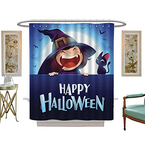 Iuvolux Tree Four Seasons Shower CurtainHappy Halloween Little Witch with Big Signboard in The Moonlight 1. Bathroom Sets with Hooks Art Print Polyester Fabric W72 x H72 Inch