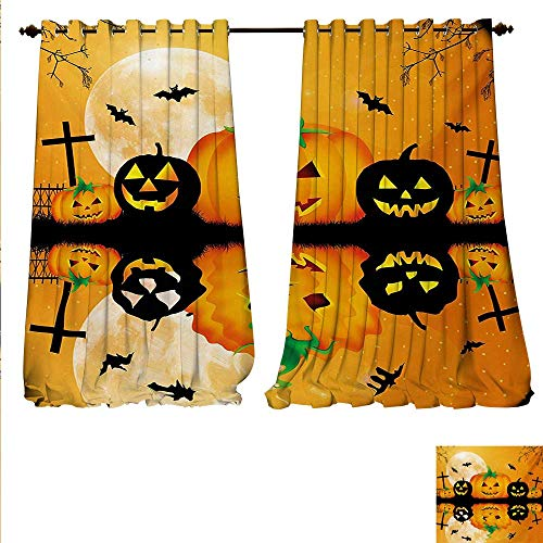 familytaste Decor Curtains by Spooky Carved Halloween Jack o Lantern and Full Moon with Bats and Grave Lake Patterned Drape for Glass Door W120 x L108 Orange -