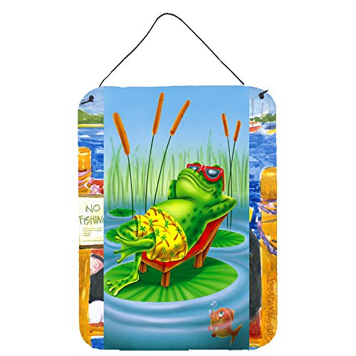 Caroline's Treasures Frog Chilaxin on The Lilly Pad Wall or Door Hanging Prints APH0521DS1216 16