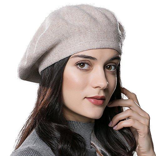 ENJOYFUR Women Beret Hat Wool Knitted Cap Autumn Winter Hat (Rice)