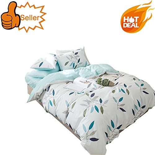 OTOB 3-Piece Luxury 100% Egyptian Cotton Duvet Cover Set for Girls Teens Adults, Smooth & Ultra Soft (Twin, Blue White Leaves Pattern)
