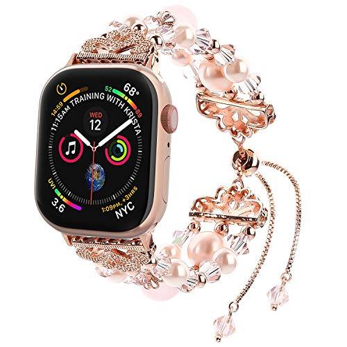 Fohuas Compatible for Apple Watch Bracelet 38mm 40mm Series 4 3 2 1, Crystal Beads Pearls Adjustable iWatch Band Elastic Jewelry Replacement Wristband Strap for Women Girl, Rose Gold [Updated]