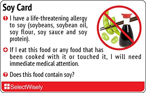 Soy Allergy Translation Card - Translated in Hebrew or any of 19 languages by SelectWisely