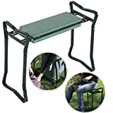 WealthyPlaza Foldable Garden Kneeler & Cushion Seat Knee Pad Seat Bench Stool Folding Sturdy Gardener Kneeling Pad for Convenient Resting – Flip up Side Down 2-in-1 Design