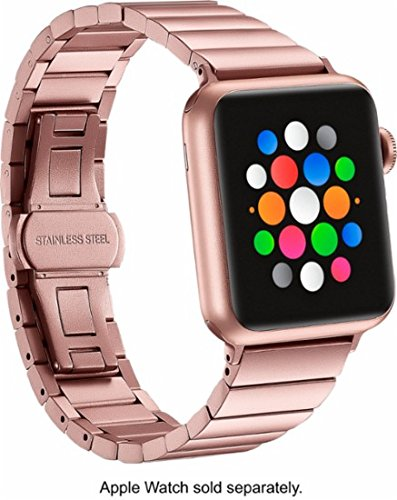 Platinum - Link Stainless Steel Band for Apple Watch 38mm - Rose ()