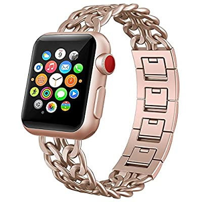 NO1seller Top 38mm 42mm Stainless Steel Metal Cowboy Style Watch Band Bracelet Strap for Apple Watch Series 3, Series 2, Series 1, Small and Large Size, For Women and Men
