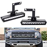 iJDMTOY Lower Bumper LED Light Bar Fog Lamp Kit For 2010-2014 Ford F150 Raptor, Includes (2) 50W High Power CREE LED Lightbars, Lower Bumper Mounting Brackets & On/Off Switch Wiring