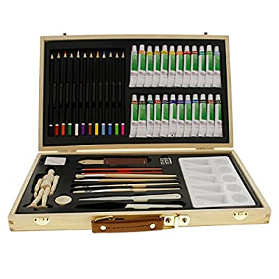 """US Art Supply 50-Piece Acrylic Painting Set with, Wood Storage Case, 24-Tubes Acrylic Colors, 12 Colored Pencils, 2 Graphite Pencils, 4 Artist Brushes, 5.5"""" Manikin, Palette Knives, Eraser, Pencil Sharpener, Plastic Palette with 10 Wells-Great Student Art"""