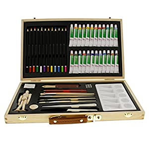 "US Art Supply 50-Piece Acrylic Painting Set with, Wood Storage Case, 24-Tubes Acrylic Colors, 12 Colored Pencils, 2 Graphite Pencils, 4 Artist Brushes, 5.5"" Manikin, Palette Knives, Eraser, Pencil Sharpener, Plastic Palette with 10 Wells-Great Student Artist Starter Set"