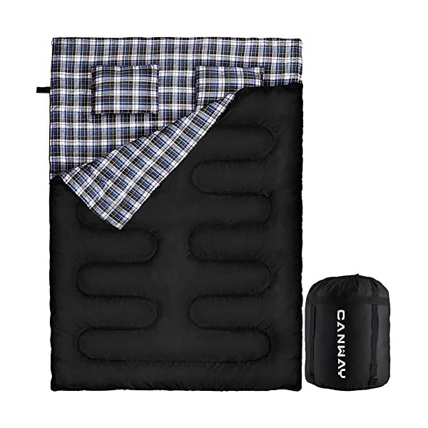 CANWAY Double Sleeping Bag, Flannel Lightweight Waterproof 2 Person Sleeping Bag with 2 Pillows for Camping, Backpacking, or Hiking Outdoor for Adults or Teens Queen Size XL (Flannel) 3