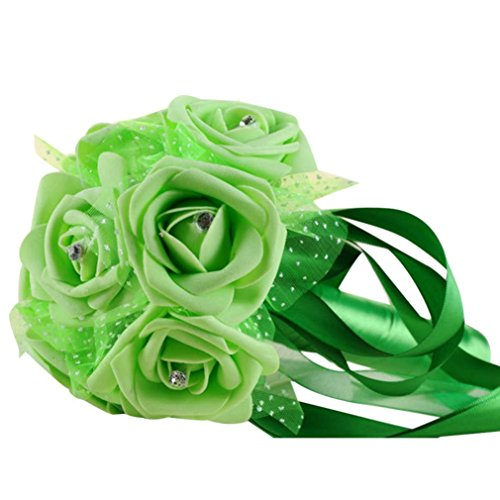 Wedding Bouquet,Napoo Crystal Roses Pearl Bridesmaid Bridal Artificial Silk Flowers ()
