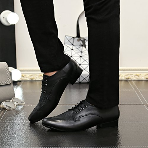 Minitoo Men's JF250501 Comfortable Leather Ballroom Latin Dance Shoes Breathable/Black GSBbx