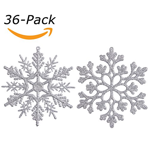 Plastic Finial (Sea Team Plastic Christmas Glitter Snowflake Ornaments Christmas Tree Decorations, 4-inch, Set of 36, Silver)