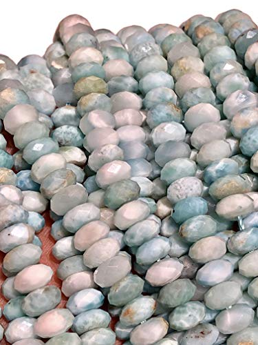 ([ABCgems] Rare Dominican Republic Larimar (Exquisite Color- Beautiful Matrix) 6mm Faceted Rondelle Beads for Beading & Jewelry Making)