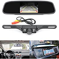 Pasow Backup Camera and Monitor Kit for Car 4.3 TFT LCD Mirror Rearview Mirror Monitor for Car Reverse Camera + CMOS Rear-view License Plate Car Rear Backup Parking Camera With 7 LED Night Vision