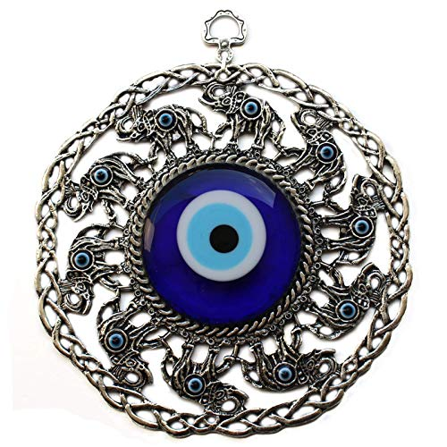 Elephants Evil (Bead Global Turkish Large Glass Blue Evil Eye Wall Hanging Ornament with Elephant - Metal Home Decor - Turkish Amulet - Protection and Good Luck Charm Gift (Blue Elephant))