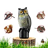 Premium Bird Repellent Fake Owl Decoy 16 in. Tall – Motion Activated & Solar Powered Scarecrow Diverter - Flashing Eyes & Frightening Sound – For Birds, Mice, Squirrels, Rabbits & Other Small Mammals ()