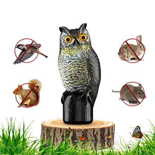 (Premium Bird Repellent Fake Owl Decoy for Garden 16 in. Tall – Motion Activated & Solar Powered Scarecrow Diverter - Flashing Eyes & Frightening Sound – for Birds, Mice, Squirrels, Rabbits & More)