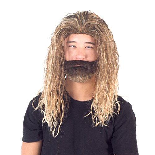 Adult Deluxe Ocean King Long Hair Wig and Beard Costume Cosplay Accessory]()