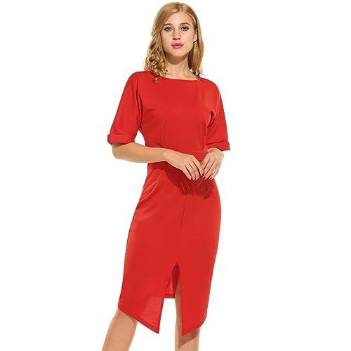 Kancystore Women Casual O-Neck Short Sleeve Solid Front Split Elegant Pencil Dress Back V Neck Party...