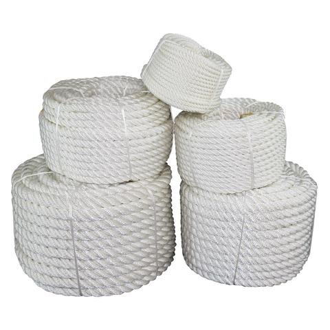 SGT KNOTS Twisted Nylon Rope (3/8 inch) Multipurpose Utility Line - Rot, Alkali, Chemical, Weather Resistant - Crafts, DIY Projects, Towing, Dock Lines, Heavy Load Uses (100 ft - White)