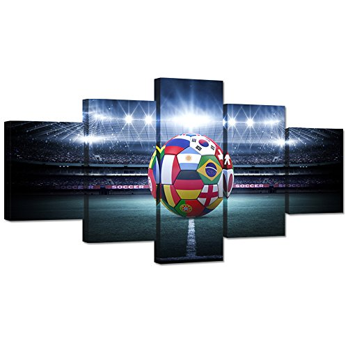 Hello Artwork Large 5 Pieces Canvas Wall Art Light Shining Soccer Ball Stadium Close Up Arena Soccer Field Championship Win Modern Wall Decor Stretched Gallery Canvas Wrap Giclee Print Ready to Hang