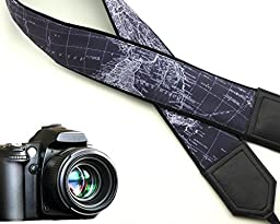 World map camera strap. Black DSLR / SLR Camera Strap. Durable, light weight and well padded camera strap. code 00020
