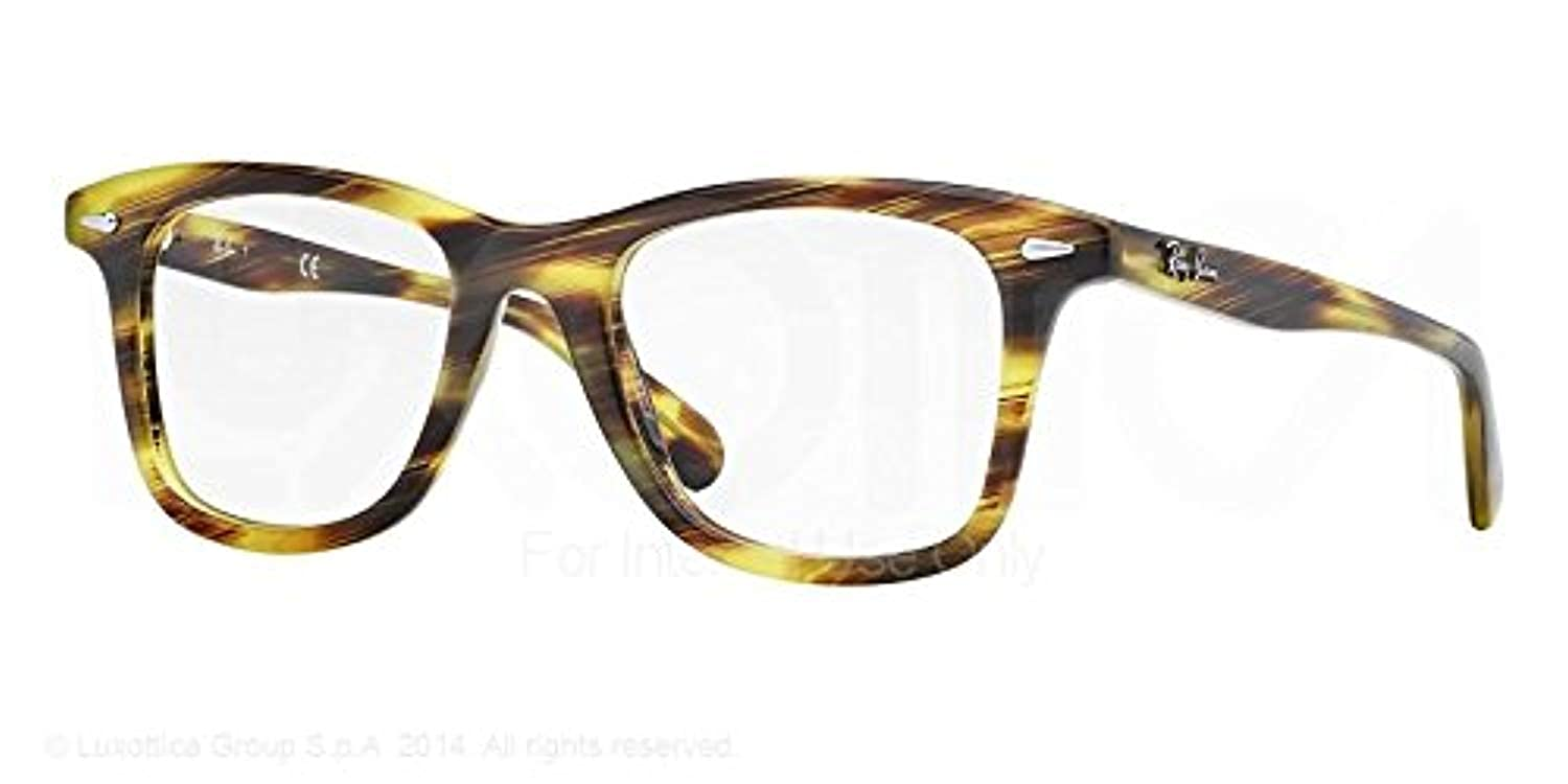 9b8b0a3423 Amazon.com  Ray-Ban Men s RX5317 Eyeglasses Stripped Green Havana 52mm   Shoes