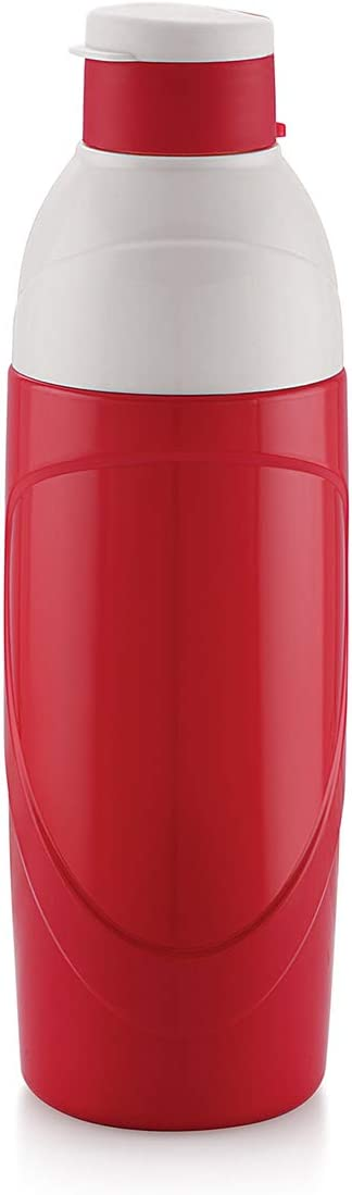 Cello Insulated Kids BPA Free Water Bottle 20 Oz (600 ml) Puro Classic Easy Carry Ergonomic Water Bottle with Wide Mouth Easy Flip Top Cap for Office, Gym, Running Reusable Drinking Container (Red)