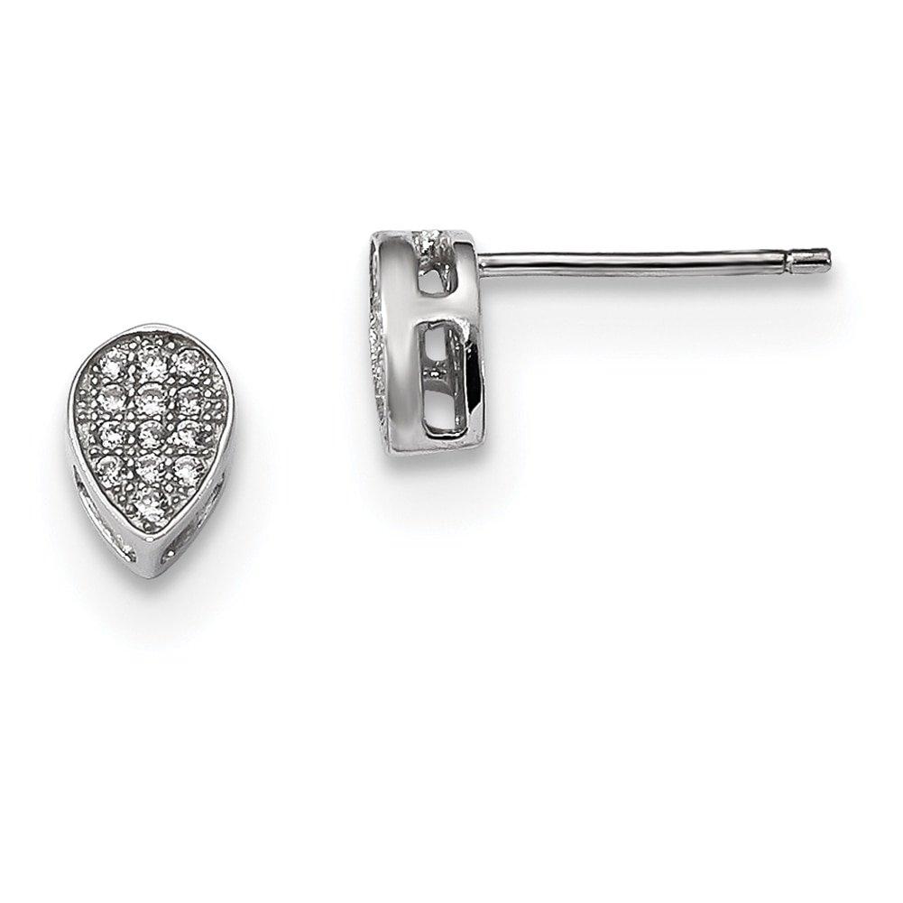 Lex /& Lu Sterling Silver w//Rhodium CZ Polished Teardrop Post Earrings
