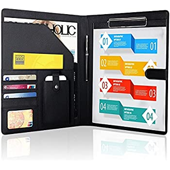 Padfolio Business/Resume Portfolio, AHGXG Leather Folder with Clipboard  Document Organizer with Paper Clip