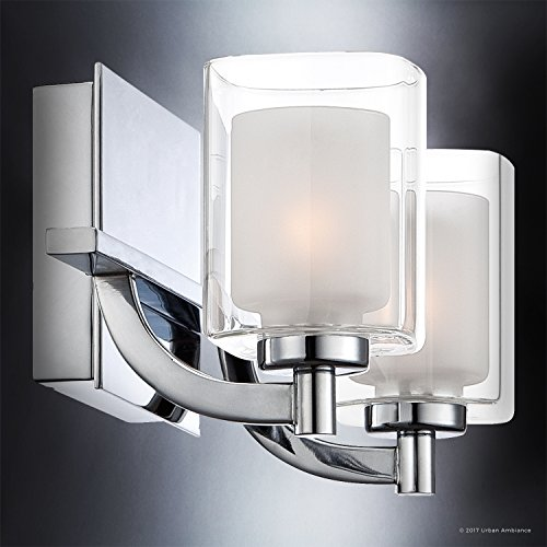 Luxury Modern Bathroom Vanity Light, Medium Size: 6''H x 13''W, with Posh Style Elements, Polished Chrome Finish and Sand Blasted Inner, Clear Outer Glass, G9 LED Technology, UQL2401 by Urban Ambiance by Urban Ambiance (Image #4)