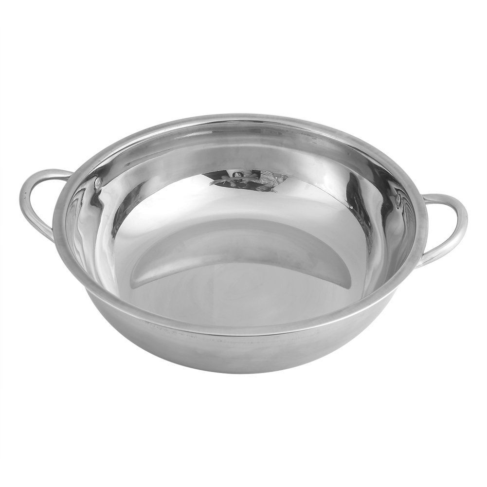 30CM Stainless Steel Hot Pot Induction Hob, Stew Pot Steamer Shabu Shabu Hot Pot Induction Cooker Kitchen Cookware Soup Cooking Pots Yosoo
