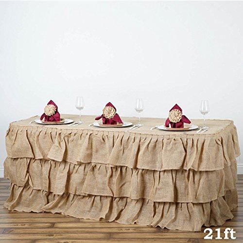 Skirt Ruffled Charm (Tableclothsfactory 3 Tier Rustic Elegant Ruffled Burlap Table Skirt - 21 Ft)