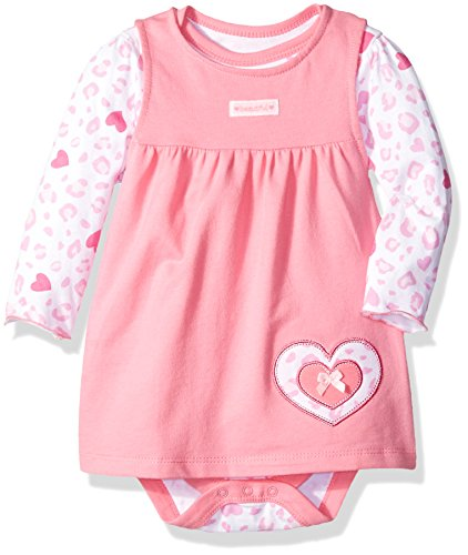 (Bon Bebe Baby Girls' 2 Piece French Terry Jumper Set with Longsleeve Bodysuit, Pink Hearts, 24 Months)
