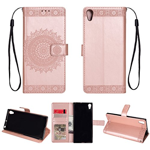 Price comparison product image Xperia XA1 Ultra Case, DAMONDY Embossed Totem Flowers Stand Wallet Purse Card ID Holders Design Flip Cover TPU Soft Bumper PU Leather Magnetic for Sony Xperia XA1 Ultra -Rose gold