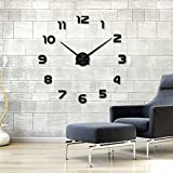 muhsein® DIY Large Wall Clock Roman Numerals Numbers Luxury Wall Sticker Clock Decoration Watches 3D Frameless , Living Room Bedroom Dorms. (Black)